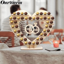 OurWarm Mr and Mrs Wedding Chocolate Ferrero Rocher Stand Candy Bar  Wooden Stand Ferrero Rocher Chocolate Stand Candy недорого