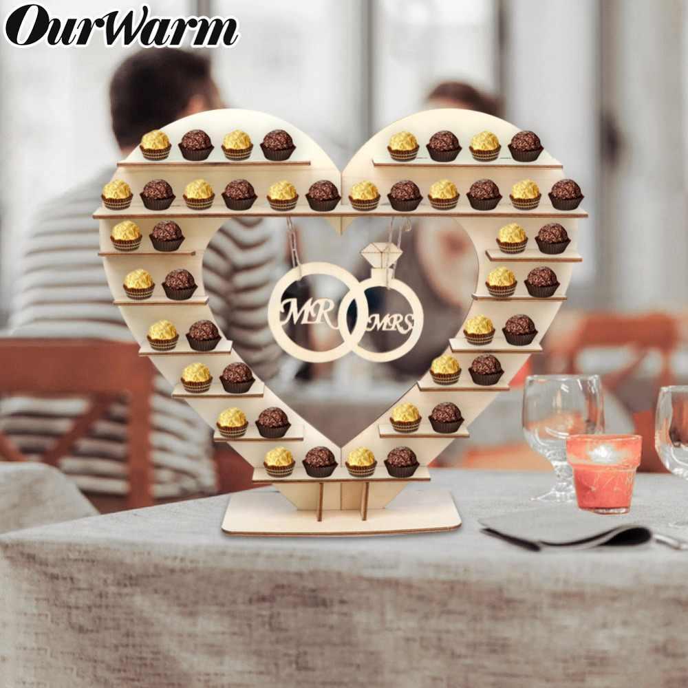 Deux anneaux suspendus « Mr » et « Mrs » Décoration de table pour mariage Support AerWo pour Ferrero Rocher En forme de cœur