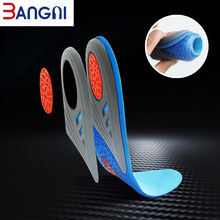 3ANGNI Silicone Gel Soft Shock Absorption Unisex Arch Support Free Cut Breathable Sport Insoles For Women Men Shoes
