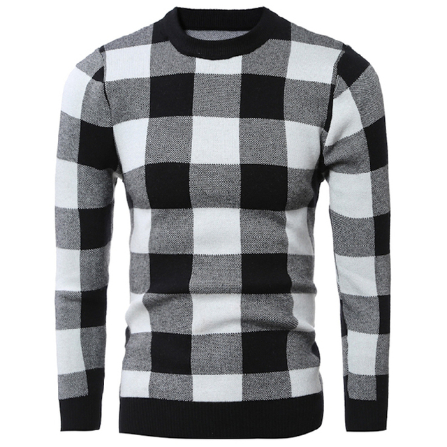 Plaid Pattern Mens Pullover Sweaters Casual Red Black Sweater For ...