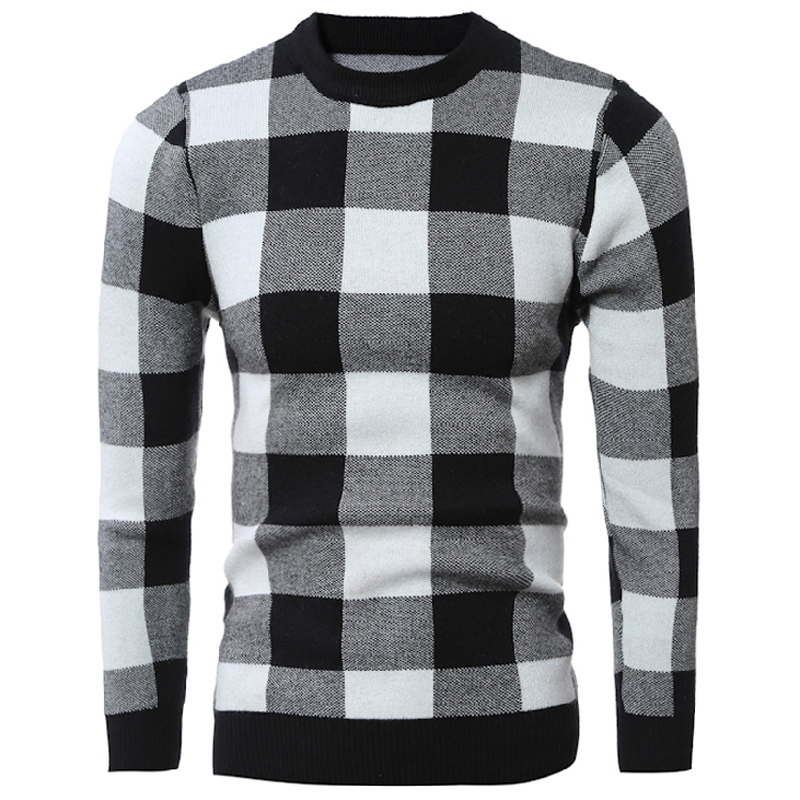 Plaid Pattern Mens Pullover Sweaters Casual Red Black Sweater For Mens Christmas Holiday Designer Sweaters Mens Clothing S114