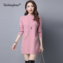 Baishanglinna Casual O-neck long knitted sweater dress women wool slim bodycon dress pullover female Autumn winter dress 2017