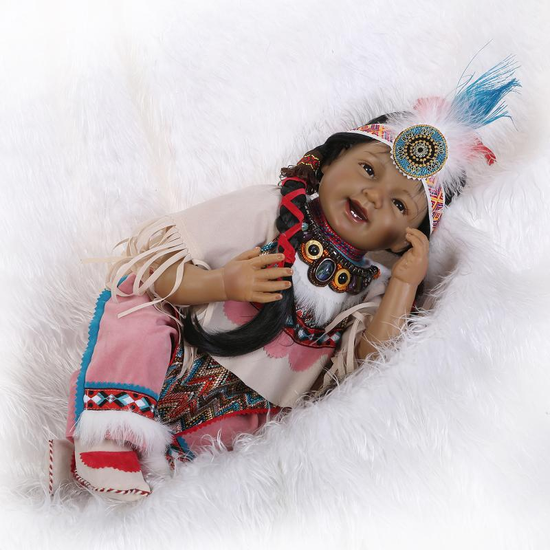 Silicone Reborn Baby Doll Toys Native American Indians Black skin Newbabies Reborn  Child Girls Brithday Present Lifelike Doll-in Dolls from Toys   Hobbies ... 983acca7b1fe