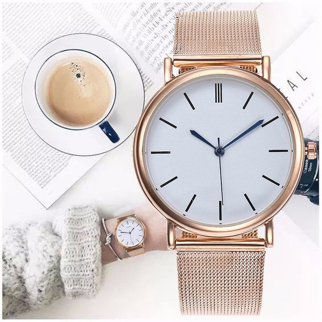 Dropshipping Fashion Silver Mesh Quartz Watch Women Metal Stainless Steel Dress Watches Relogio Feminino Gift Clock