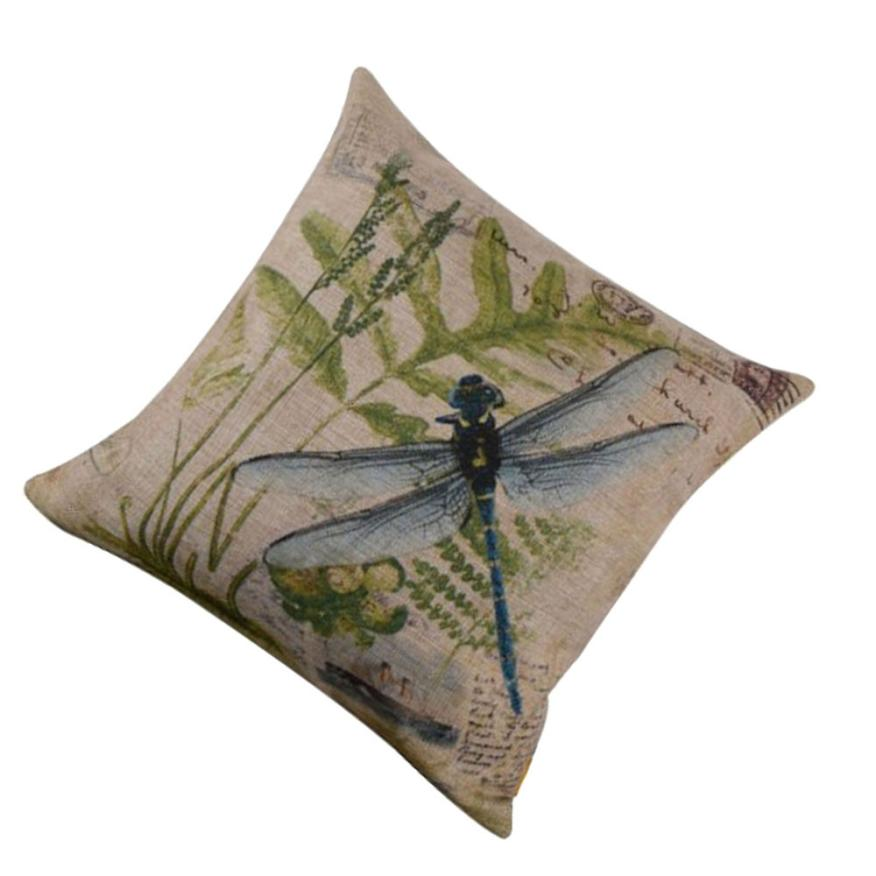 Ouneed 2017 New Arrival Excellent Quality Square Soft Pillow Linen Blend Pillow for Home Office/Hotel/Car Use Dragonfly Pattern