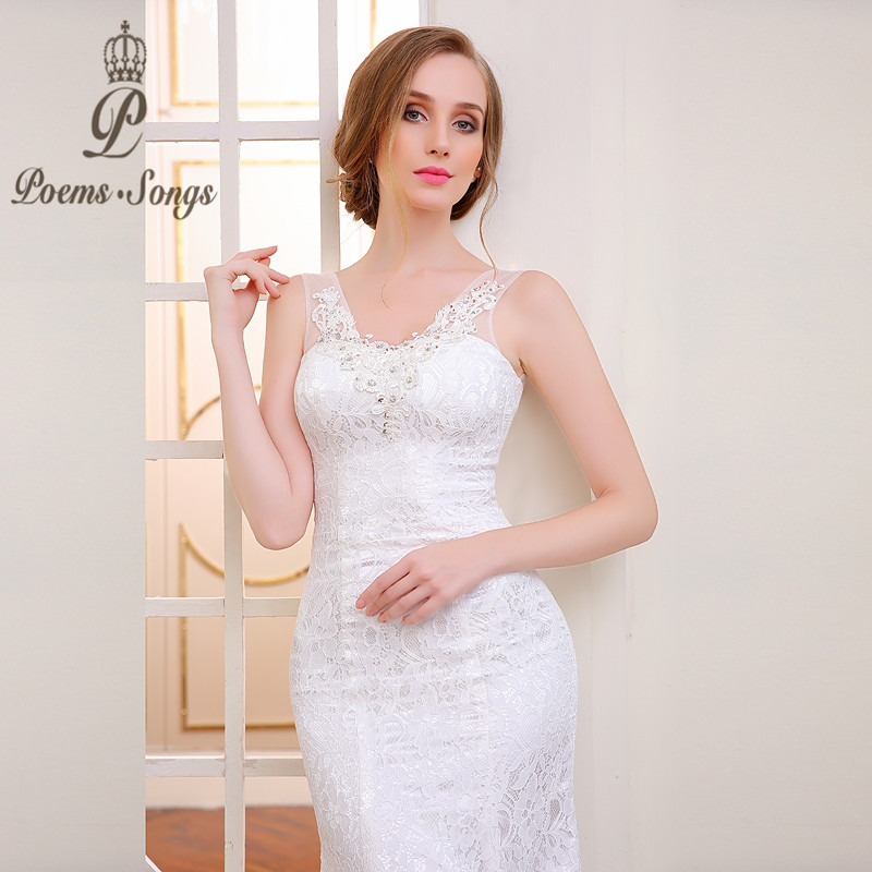Real Photo  High  Quality Lace Flowers V-neck Mermaid Wedding Dresses Sexy  Backless Vestido De Noiva Robe De Mariage Ball Gowns