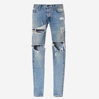 2017 Broken hole damaged Distressed ripped lt blue jeans leg zipper Kanye west men denim Frazzle pants