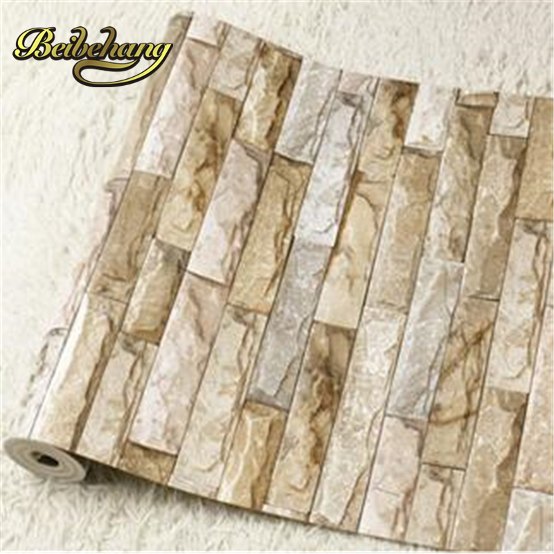 beibehang HaokHome PVC Vinyl Modern Faux Brick Stone 3D Wallpaper Living room Bathroom Home Wall Decoration,0.53m*10m/roll beibehang stone brick wall 3d wallpaper roll modern retro pvc vinyl wall bedroom living room background wallpaper for walls 3 d