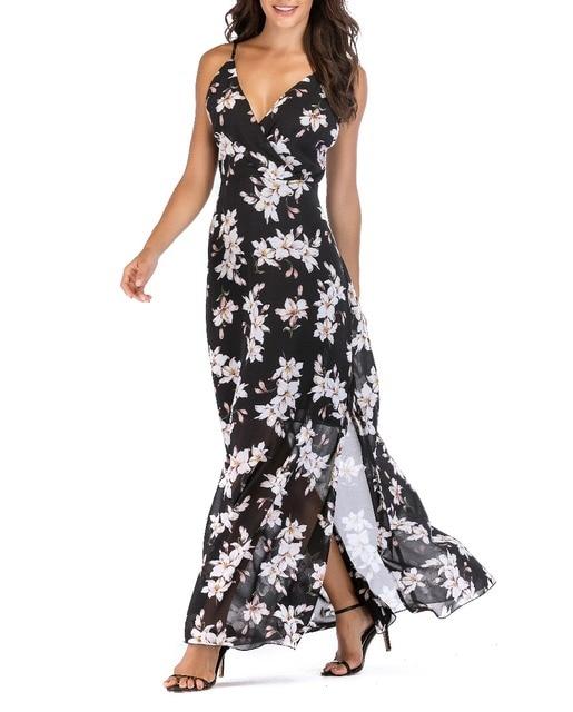 SUNNOW Для женщин с v-образным вырезом с открытыми плечами бретельках Цветочный принт с боковыми шифон Maix платье