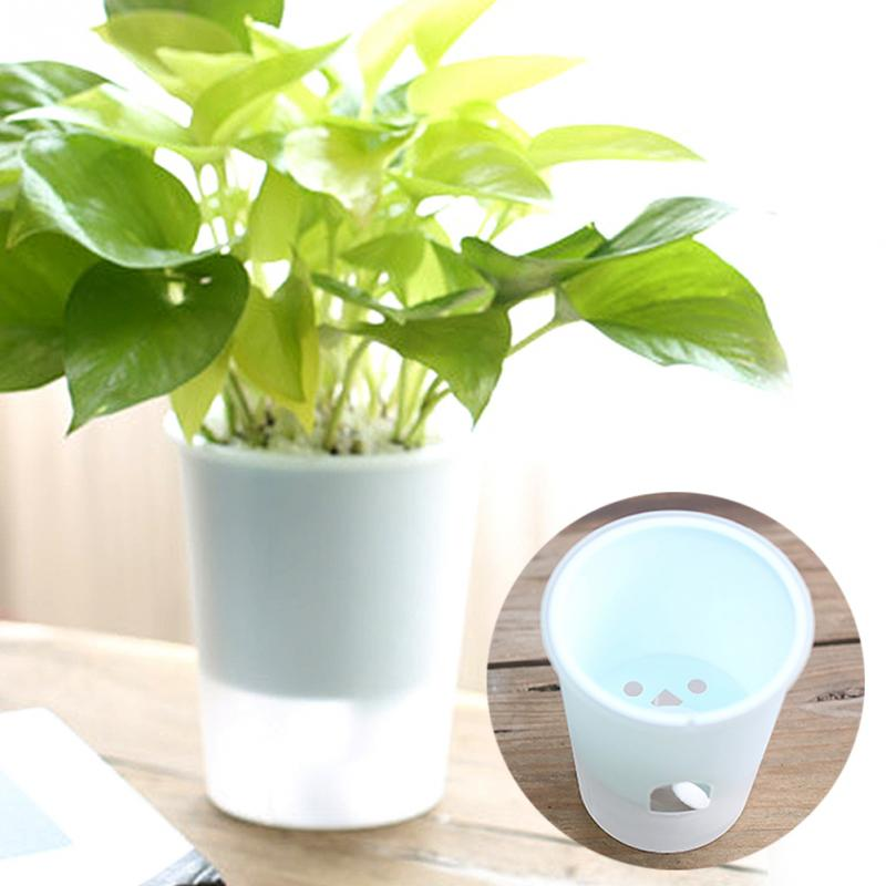 New 10.2*7.5*12cm Plastic Transparent Self-Watering Planter Flower Pot Durable Home Decoration Creative Home Office Decor