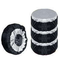 4Pcs Set Black Taffeta Spare Tyre Cover Dust Dirty Tire Storage Bag Size Adjustable Fit For