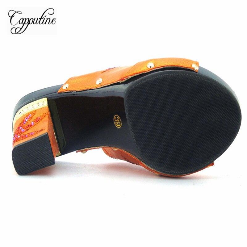 Capputine moda hermoso diseño naranja Mujer Zapatos y bolsa conjunto verano  estilo tacones altos zapatos y bolsos conjunto para fiesta de boda en  Bombas de ... 6fec2a5171aa