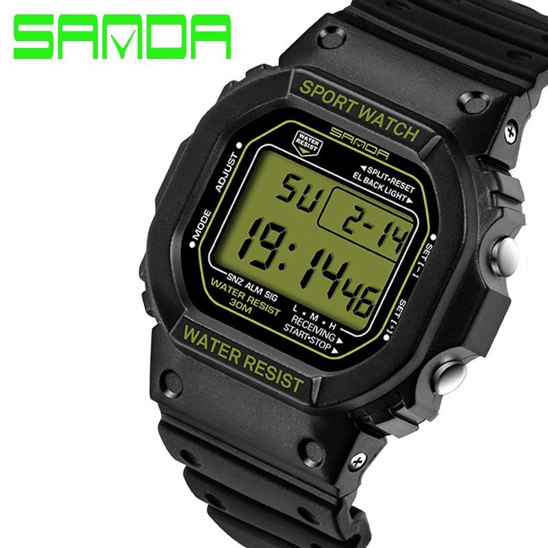 Top Brand Sanda Rectangle Sport Watch Men Women Digital Wrist Watch LED Display Electronic Clock Waterproof Relogio Masculino