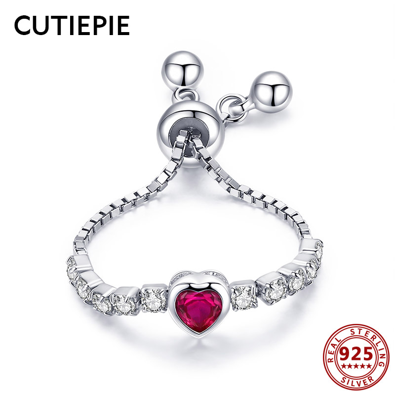 Cutiepie Widespread 100% Actual 925 Sterling Silver Coronary heart Form Hyperlink Ring Adjustable Pink Cz Ladies Wedding ceremony Bands Silver Jewellery Presents