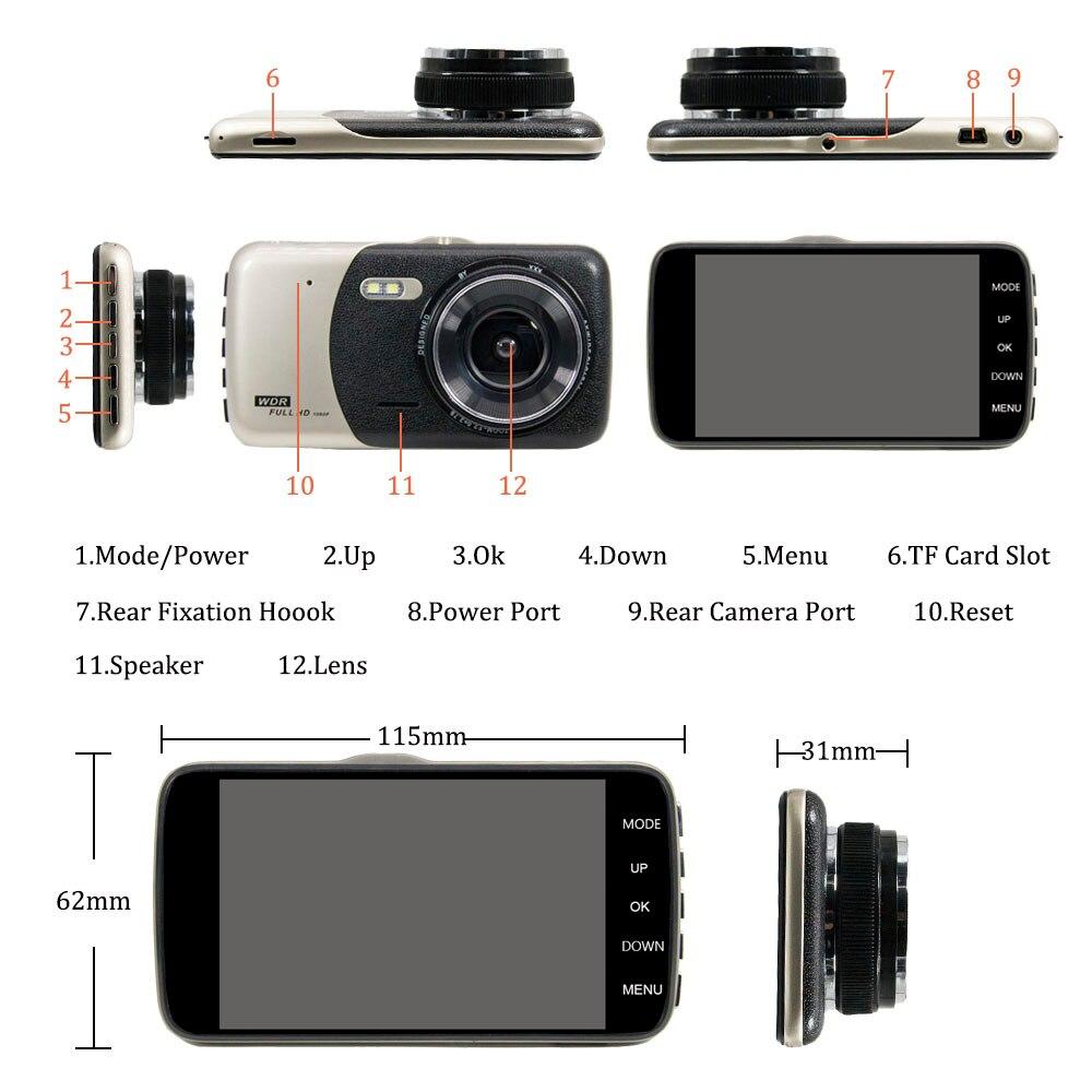 HGDO Dual Lens Dashcam 4 Car DVR Full HD 1080P Video Auto Registrator Car Dash Camera G-sensor Loop Recording Dash Cam Dvrs