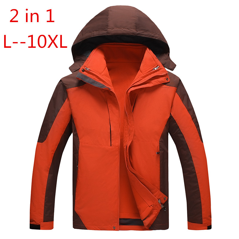 PLUS SIZE 10XL 8XL 6XL 5XL 4XL outwear Waterproof Windproof Breathable Warm Jacket Winter Men Coat   parka   2 in 1 set Clothing