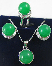 fine Lovely Wonderful Jewelry green gem pendant necklace ring earring sets gem women's jewelry silver