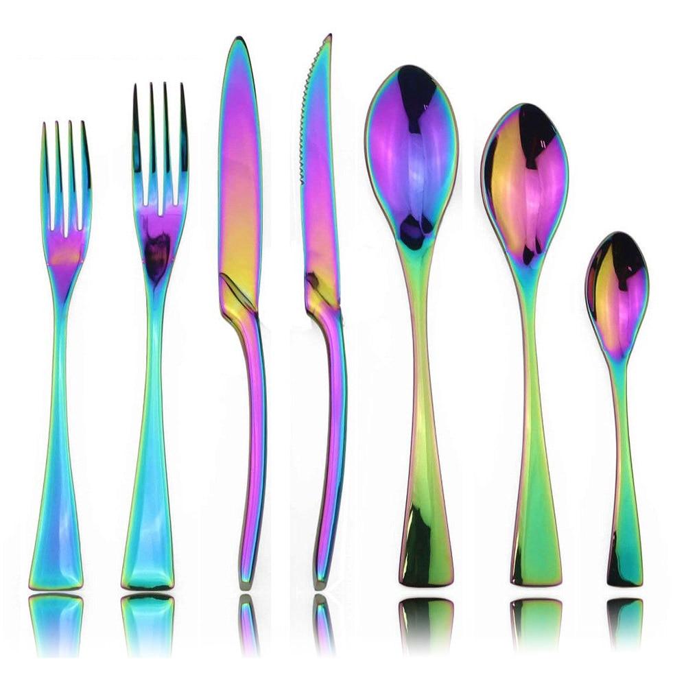 28 pcs 레인보우 식기 세트 거울 스테인레스 스틸 칼 붙이 세트 크리스마스 웨딩 저녁 식사 칼 포크 티스푼 식기 세트-에서식기 세트부터 홈 & 가든 의  그룹 1