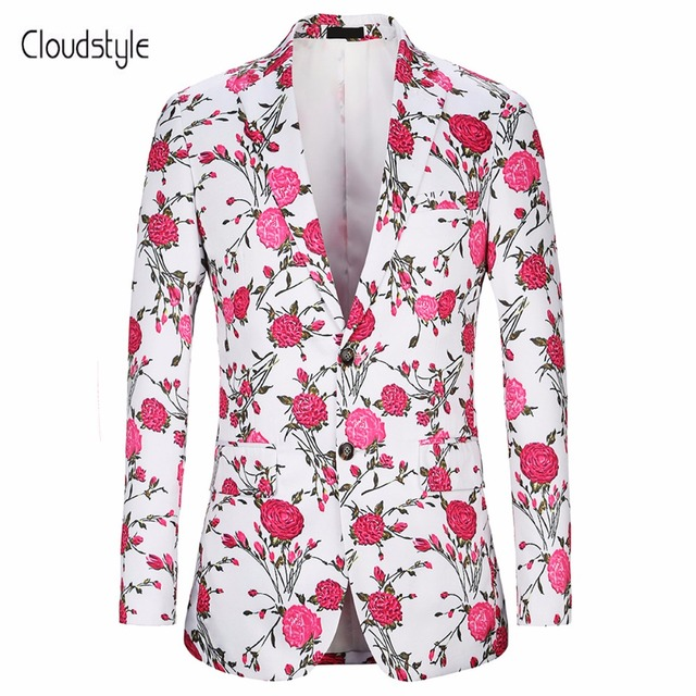 2a64dcf9615 Cloudstye 2018 Male Suit Jackets Plus US Size 4XL Fashion Pink Rose 3D  Print Blazer Men Casual Slim Fit Two Button Blazer