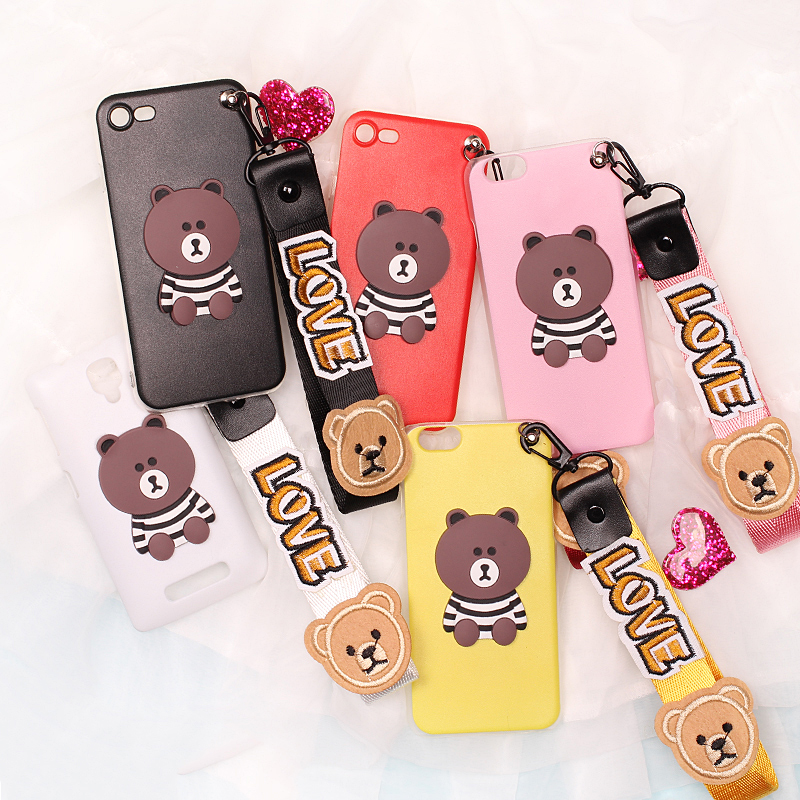 For Samsung A3 A5 A7 A8 A310 A510 A710 A720 2017 NOTE 2 3 4 5 Bear Strap Mobile Phone Case Funda Cover Bag Housing Shell Skin