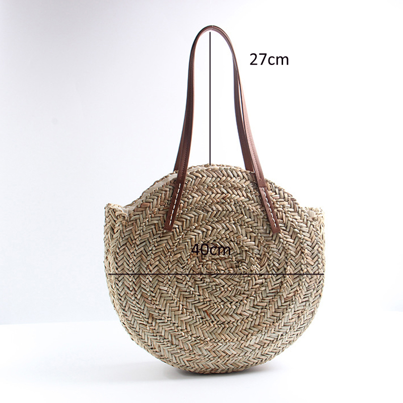 XMESSUN Round Straw Bags Moroccan Palm Basket Bag Women Hand Woven ... 551c4883839b6