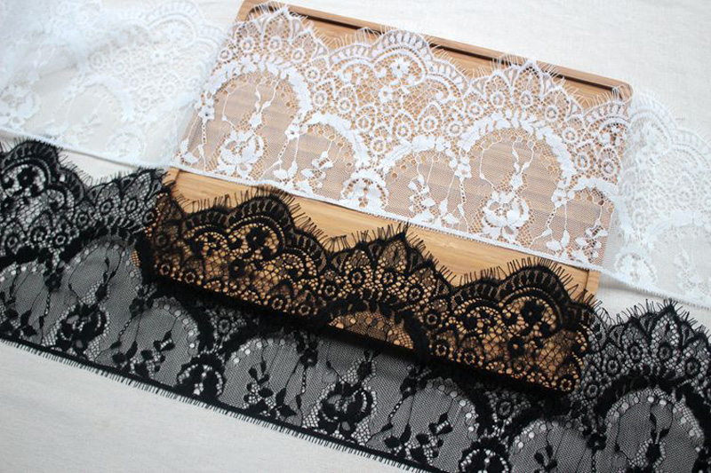 Image 4 - Width 16cm White Black Floral Embroidered Eyelash Lace Ribbon for Garment Decoration and DIY Craft Lace Trimming 3meters/lot-in Lace from Home & Garden