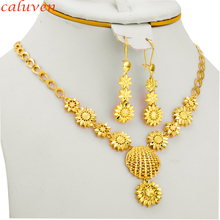Gold Color Ethiopian Jewelry Sets  Small Flowers Arab/African Jewelry Party Gifts Necklace/Earring for Women/Girls