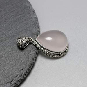 Image 5 - Real 925 Sterling Silver Gemstone Pendants Natural Madagascar Rose Quartz Small Water Drop Elegant Crystal Jewelry For Women