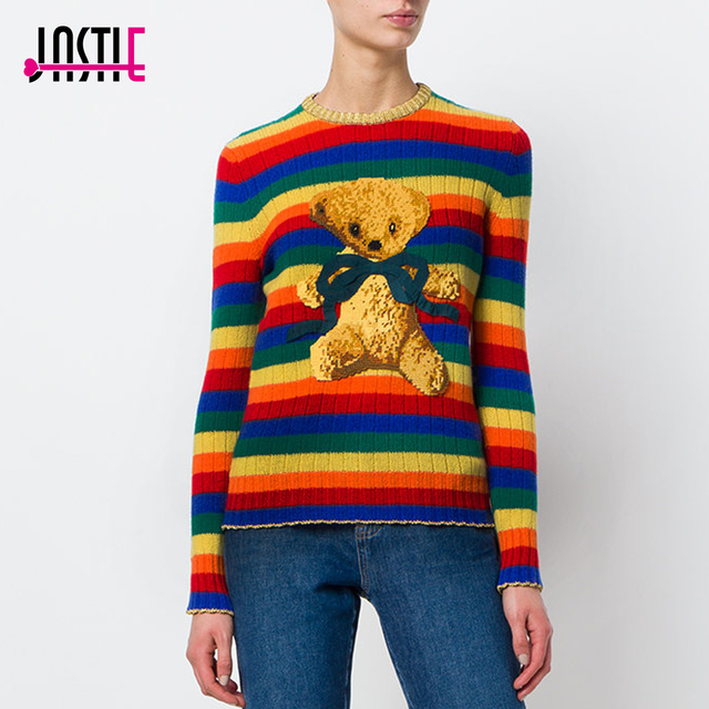 34a622538a Jastie Rainbow Stripe Women Sweater Bear Embroidery Wool Knitted Sweaters  O-Neck Pullover Top Casual Jumper Chandail Pull Femme