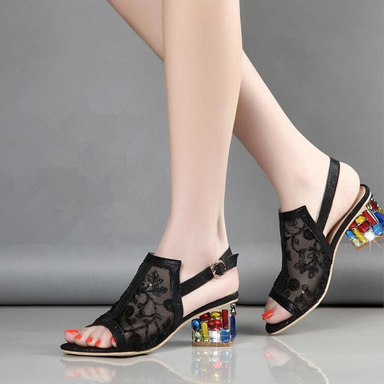 Nice New Rhinestones Lace Shoes Summer Sandals Women Shoes Fashion Sandals With Thick Large Size Shoes Woman Sandals XMX B0059