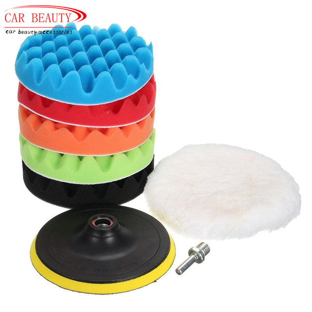 4/5/6/7'' Professional Car Sponge Polishing Waxing Buffing Pads Kit Set (5 Polishing...