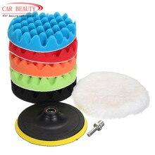자동차 왁싱 버핑 패드 키트 세트 (5 연마 패드 + 1 모직 버퍼 + 1 접착 백커 패드) 용 4/5/6/7 자동차 스폰지 연마
