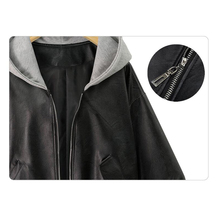 Women's Casual Hooded Black Leather Jacket