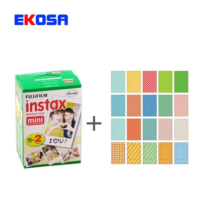 Fujifilm Instax Mini 8 Film 20 sheets Instant Photo + 20 Sheets Stickers for Instax Mini 7s 8 25 50s 90 Mini8 Camera Paper