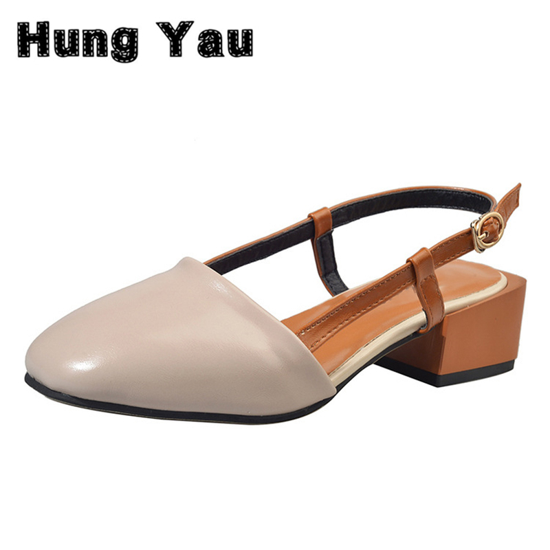 Hung Yau Shoes Women Sandals Summer Style Ankle Strap Chunky High Heels Ladies Comfortable Breathable Shoes Good Leather Size 8