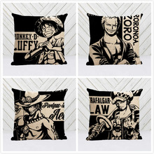 Hot Sale Popular Anime ONE PIECE luffy ace zoro Style Nice Throw Square Pillow Cover Creative Personalized Unique Pillowcase