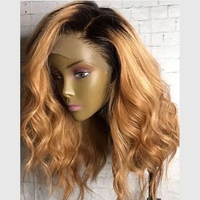 DLME 16inch Ombre Short Wigs Side Part Honey Blonde Wig Heat Resistant Afro Synthetic Lace Front Wigs With Baby Hair For Women