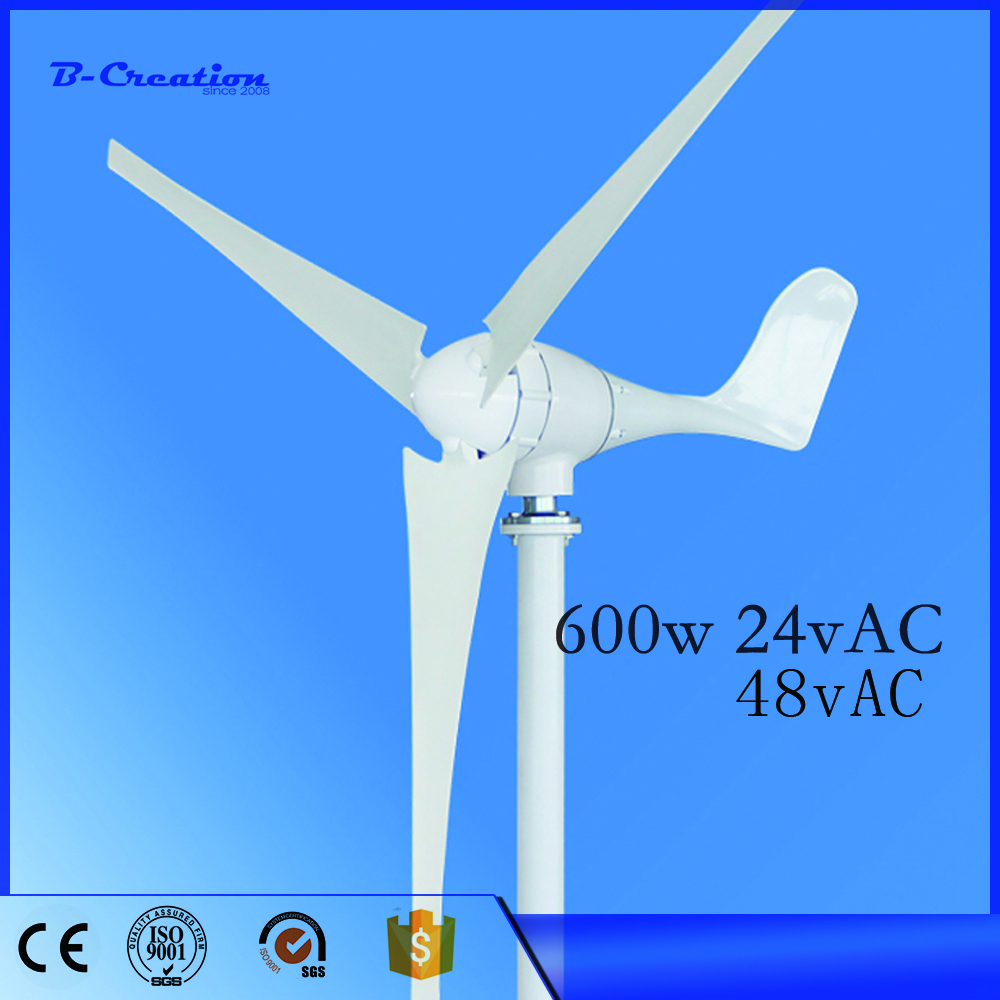 New Wind Power Generator 600w 24v Mini Wind Generator Horizontal For Turbine With 3pcs Blades ,ce Certificate Approved free shipping 600w wind grid tie inverter with lcd data for 12v 24v ac wind turbine 90 260vac no need controller and battery