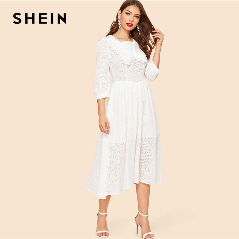 07a6a0f964 ... SHEIN White Vintage Collar Square Neck Lace Eyelet Solid Long Dress  Women 2019 Spring Fit and ...