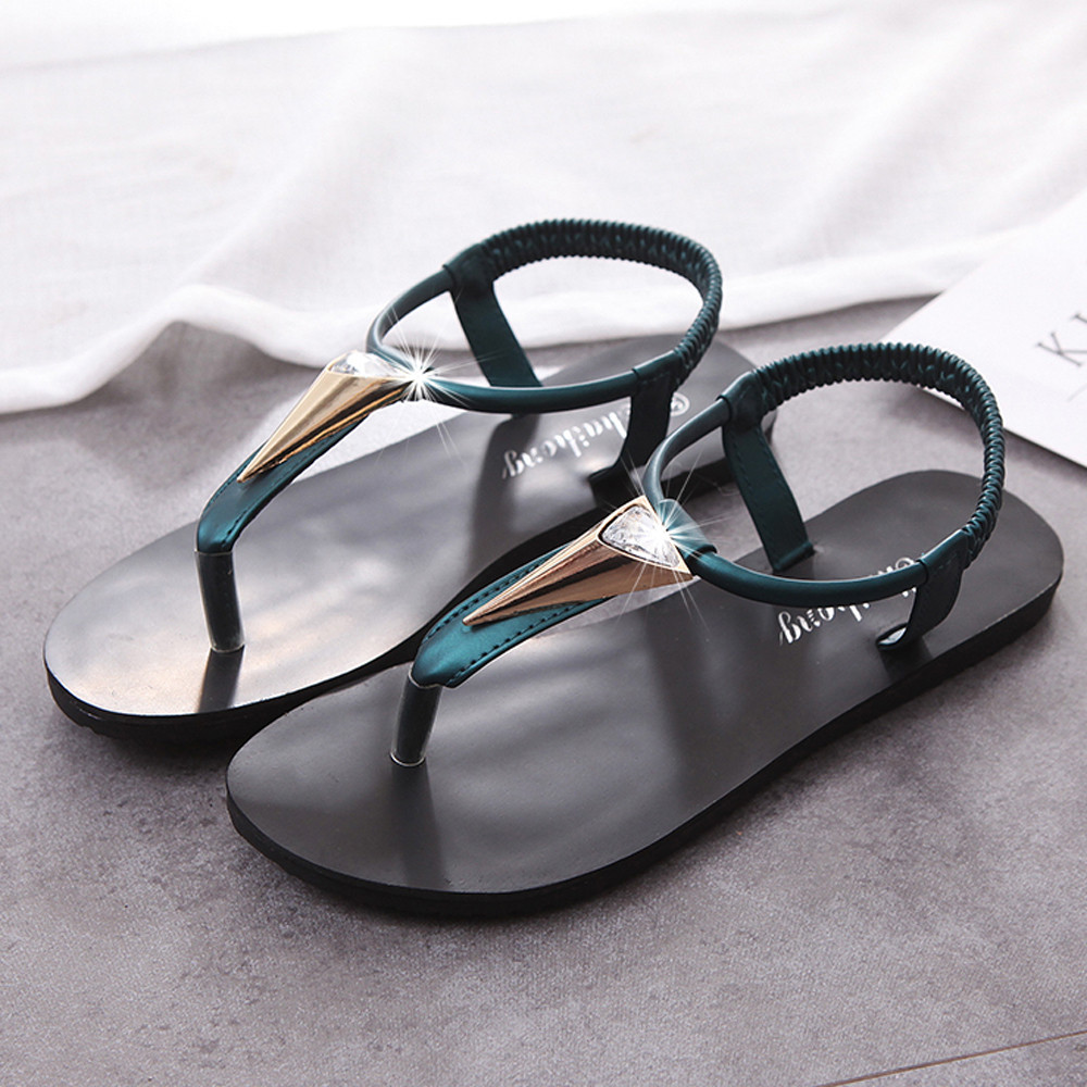 Fashion Leather Women Sandals Bohemian Diamond Slippers Woman Flats Flip Flops Shoes Summer Beach Sandals Peep-Toe Shoes kuyupp fashion leather women sandals bohemian diamond slippers woman flats flip flops shoes summer beach sandals size10 ydt563