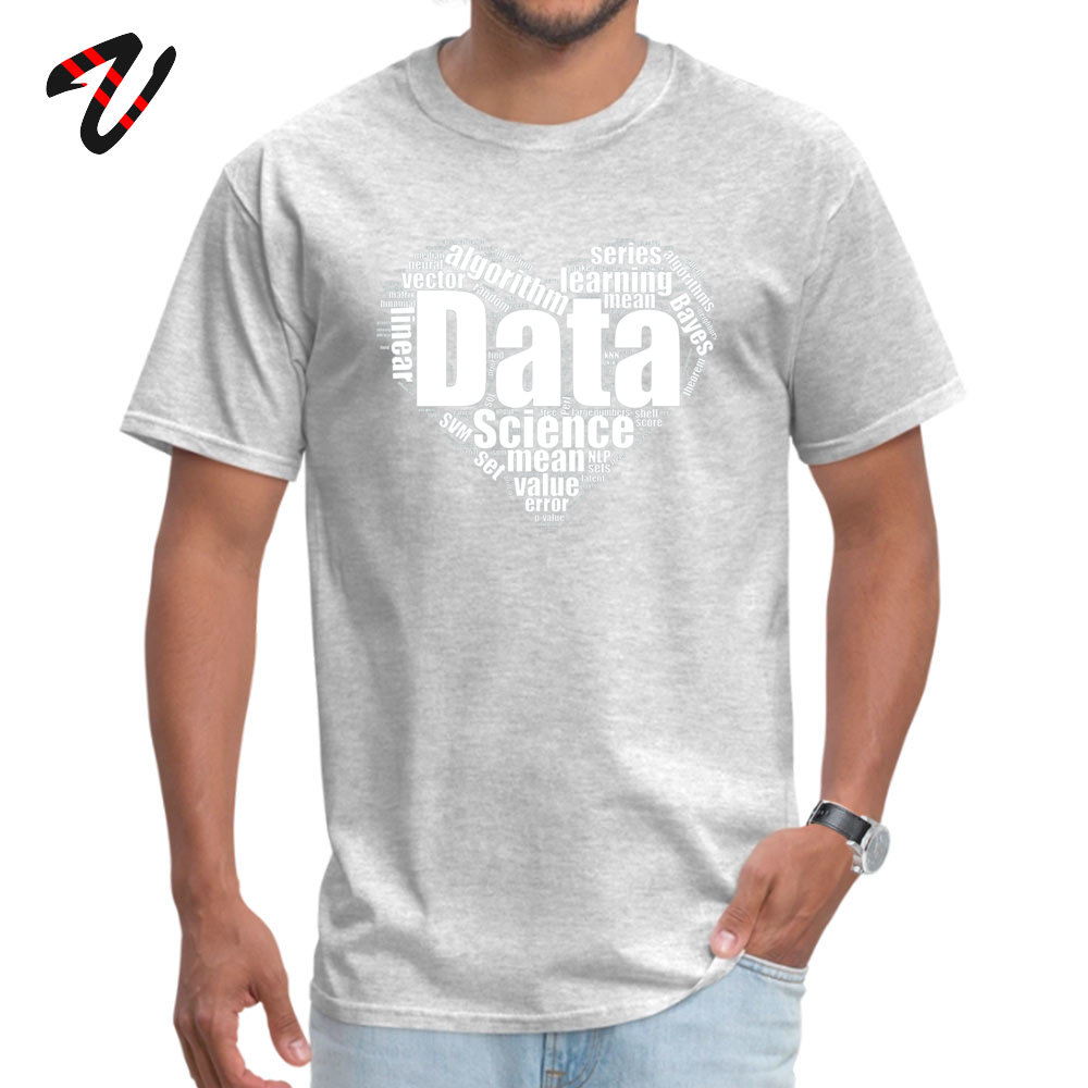 Data Science Love Crew Neck T Shirts Lovers Day Tees Short Sleeve Company Cotton Fabric Personalized T Shirts Birthday Men Data Science Love -13189 grey