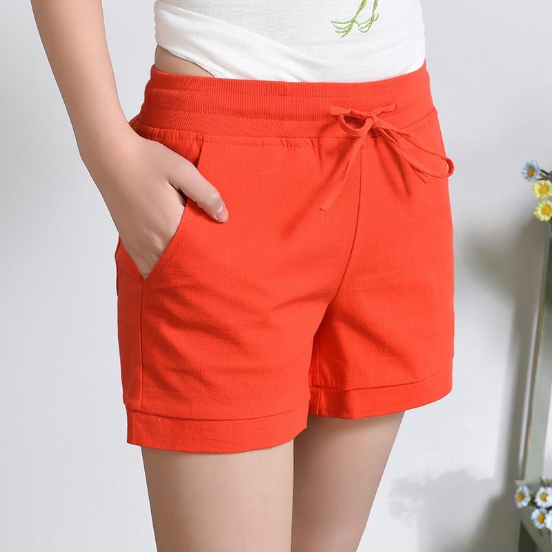 2018 New Summer Women Elastic High Waist Shorts Korean Fashion Drawstring Solid Cotton Linen Orange Blue White Shorts