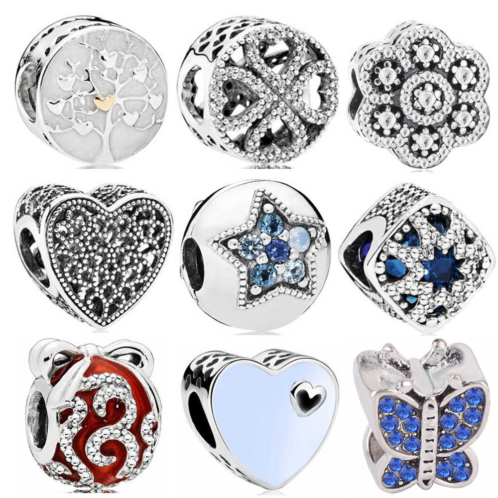 New Fashion DIY Vintage Punk Small Apple Dog Tree Love Hearts Flowers Beads Charms Fit Pandora Bracelets & Bangles Women