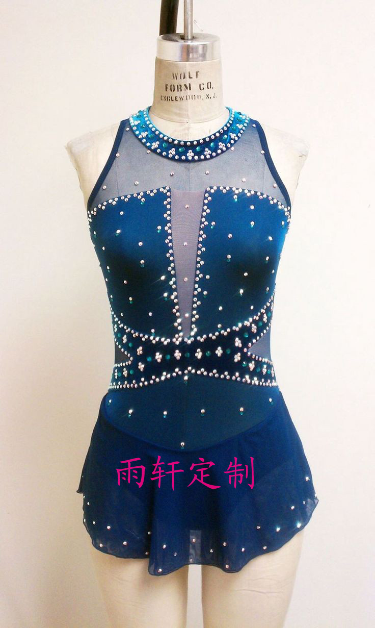 ice skating dress blue hot sale competition figure skating ...