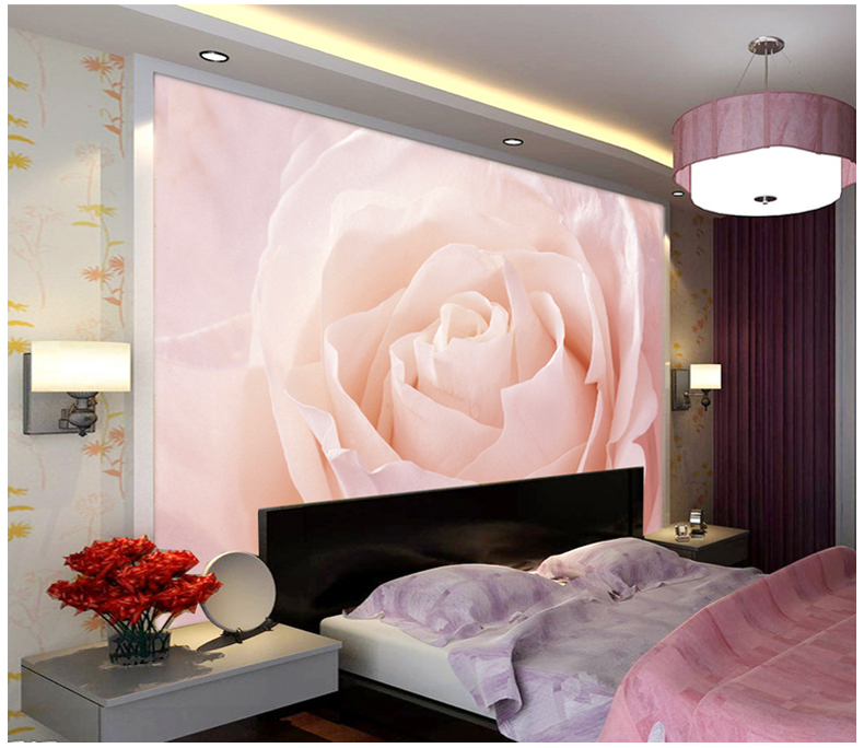 Wholesale Light Pink Rose FLower Mural 3d Wall Photo