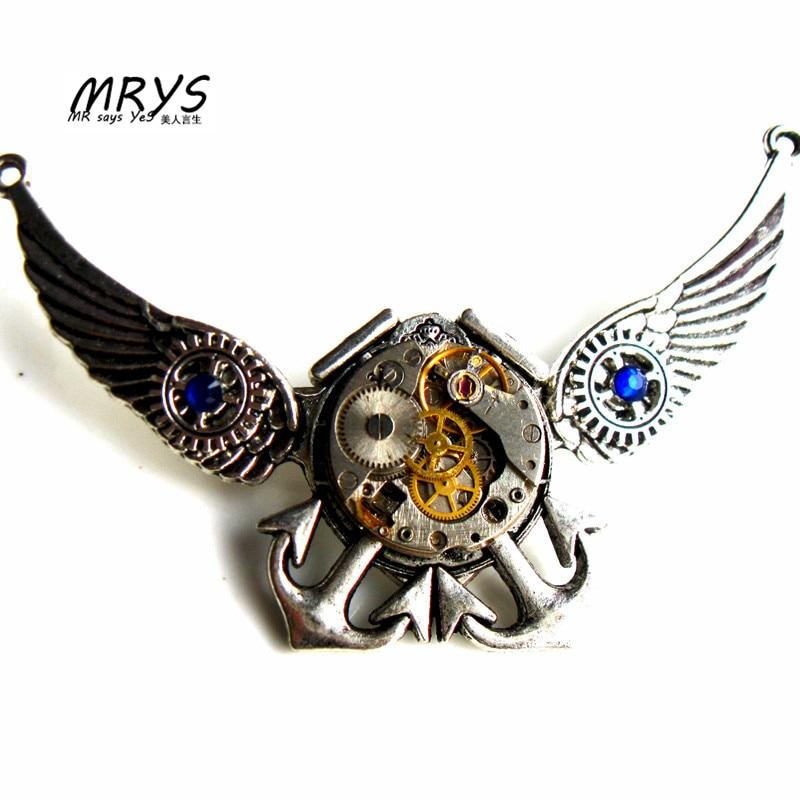 Steampunk punk ailes ancre de mer pièces de montre engrenages broche broches pendentif déclaration chaîne pour femmes hommes garçons filles bijoux vintage