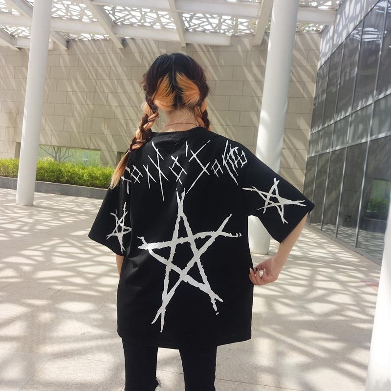 Pentagram Fashion Graffiti Print Female T Shirt Loose Harajuku Half T-shirts For Women Casual Korean Streetwear Camisas Mujer