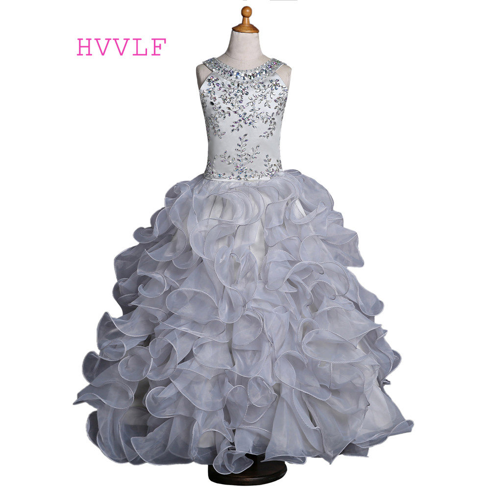 Silver 2019   Girls   Pageant   Dresses   For Weddings Ball Gown Organza Ruffles Beaded Crystals   Flower     Girl     Dresses   For Little   Girls