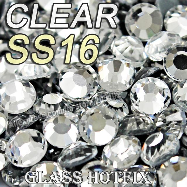 Promotion! SS16 1440pcs/Bag Clear Crystal DMC HotFix FlatBack Rhinestones strass,DIY iron glass Hot Fix crystal stones glitters