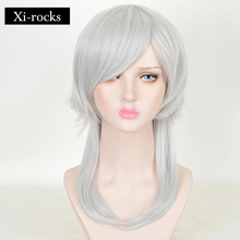 3041 X New Men Cosplay Wigs 50cm/19inches Short Sliver White Heat Resistant Synthetic Hair Perucas Wig